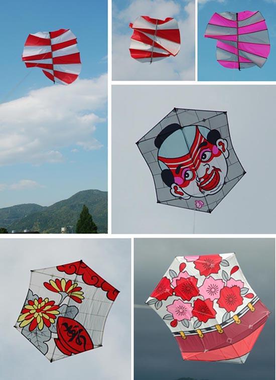 丸形の風袋凧は袖の深さを変えてテスト。それなりにおもしろい動きで上がります。六角凧のスパンは120〜160で「花見に一杯」をもくろんでいます。 :: 75_1.jpg  : 88 KB